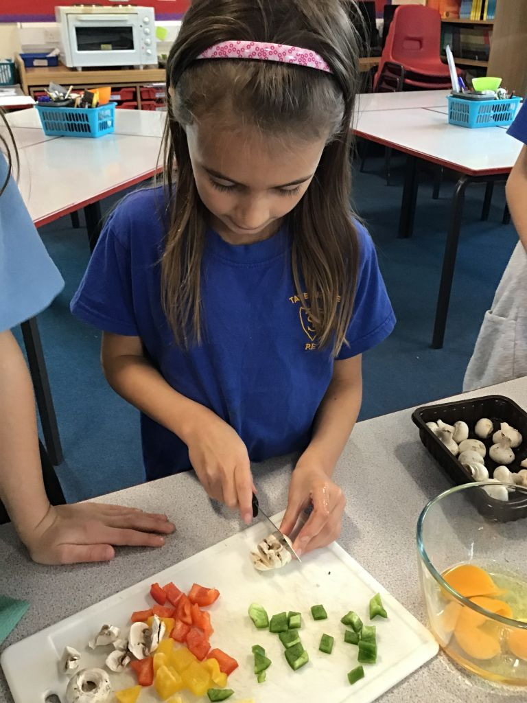 pupils learning to eat healthily