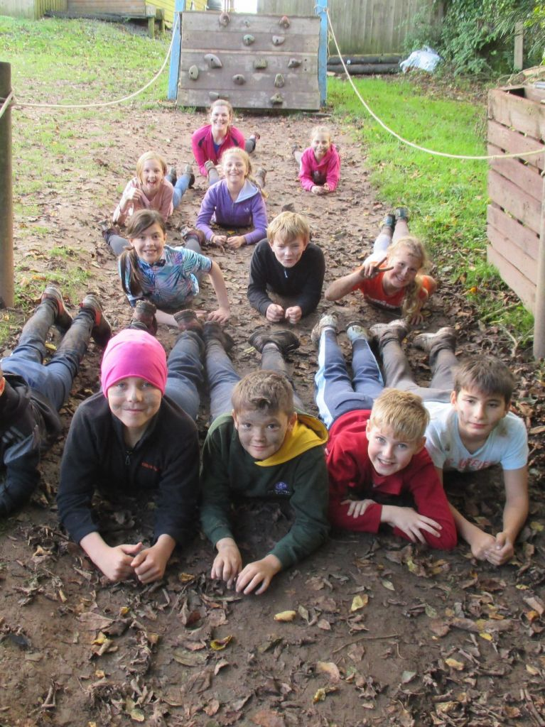 Pupils on the mud assault course